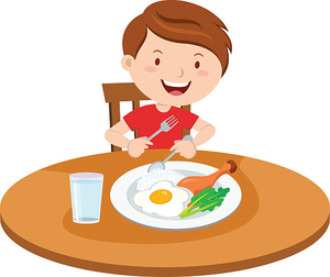 Kid Eating Breakfast Clipart.