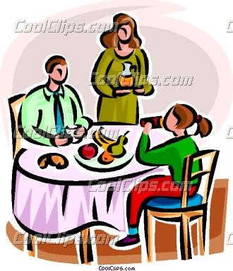 Family Having Dinner Clipart.