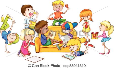 Vector Clip Art of Children having fun in the room illustration.