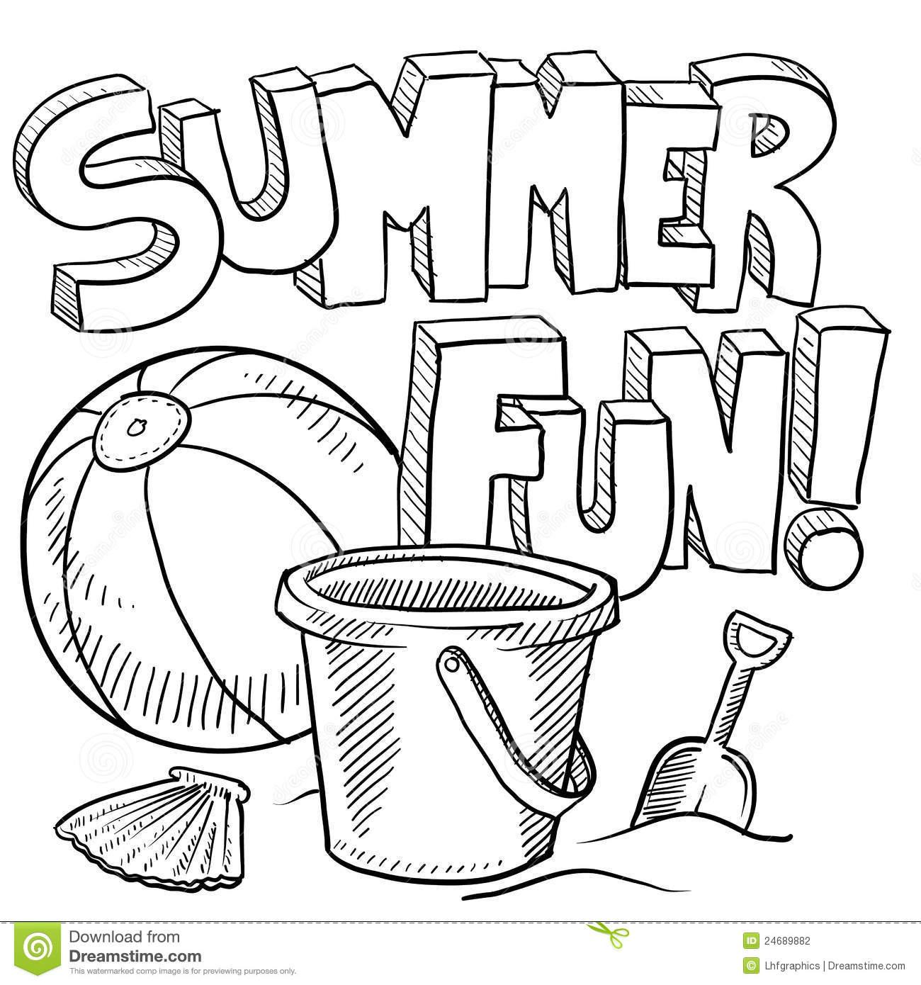 Summer Fun Clipart Black And White.