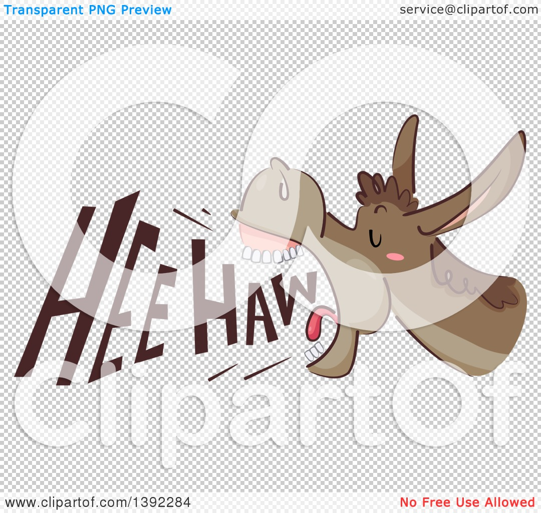 Clipart of a Donkey Braying, with Hee Haw Text.