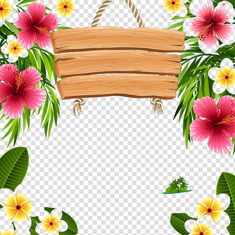 Flowers illustration, Hawaii Frames , Simple wooden tag.