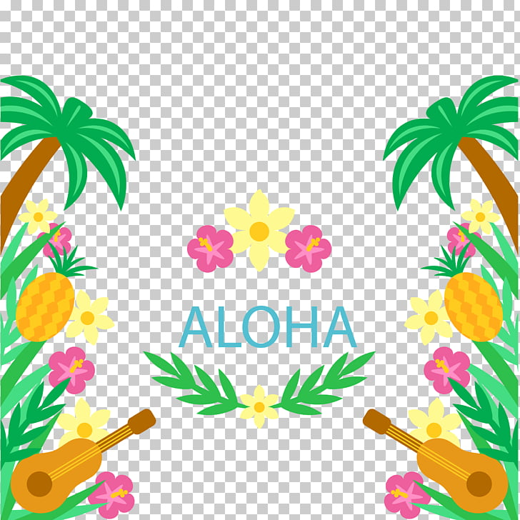 Hawaiian Tahiti Ukulele Luau, Ukulele and floral background.