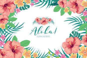 Summer Flowers ClipArt Tropical Summer Aloha Hawaiian.