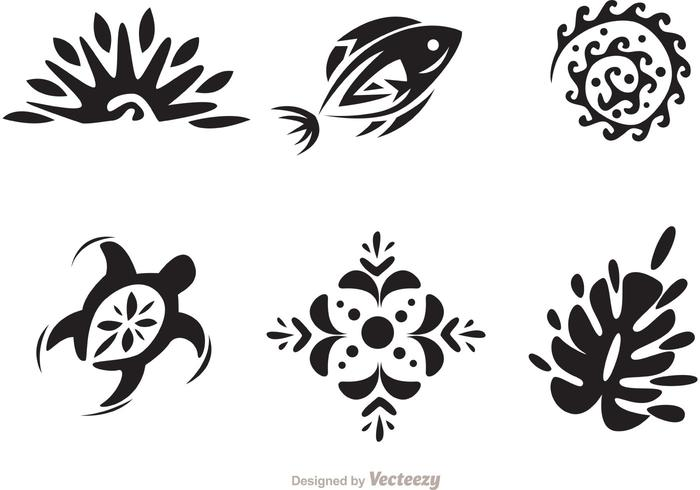Hawaii Tribal Vectors in Black and White.