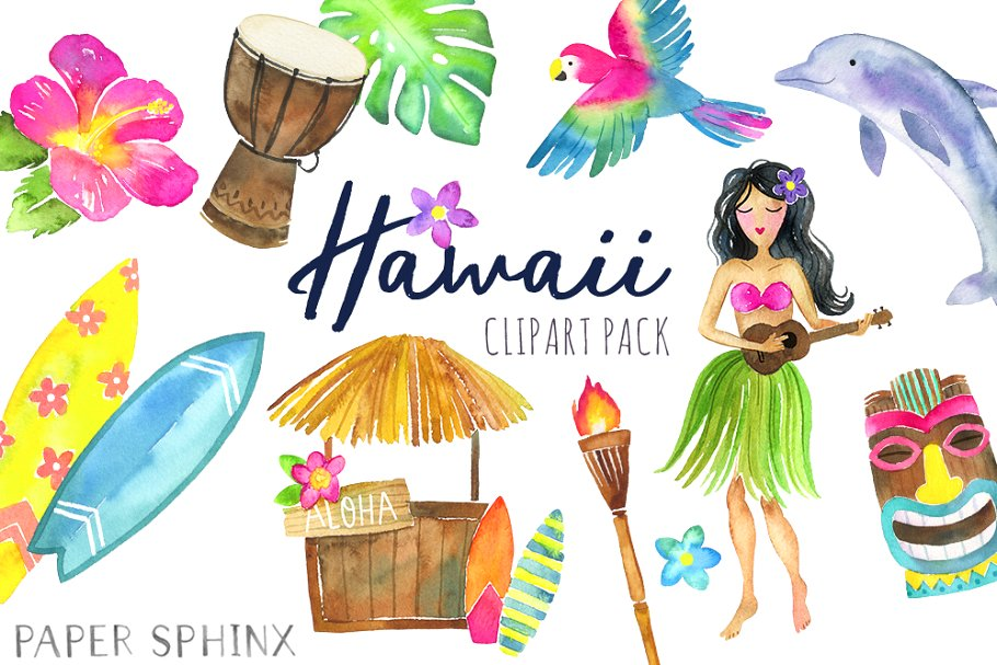 Watercolor Hawaii Clipart.