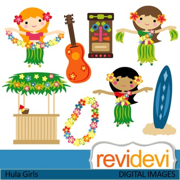 Clip art: Dancing Hawaiian Girls (hula girls, tiki, hawaii, guitar) clipart.
