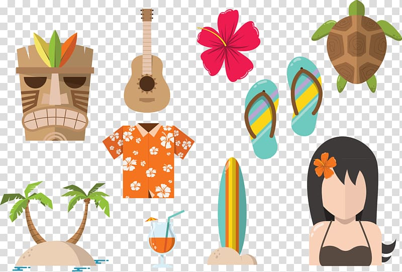 Brown guitar illustration, Hawaiian Beaches Icon, Hawaii.