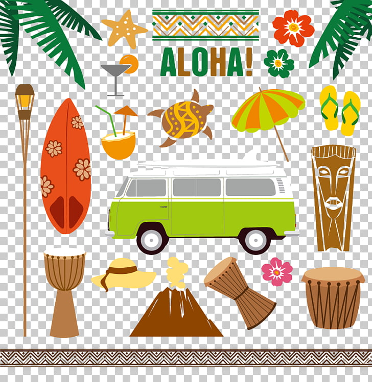 Hawaii Tiki Aloha Illustration, Travel Icon, green and white.