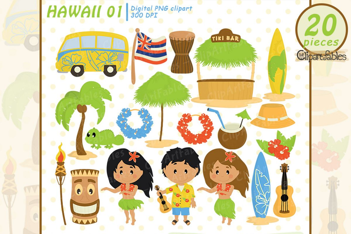 HAWAII clipart, LUAU art, Travel, Tiki clip art.