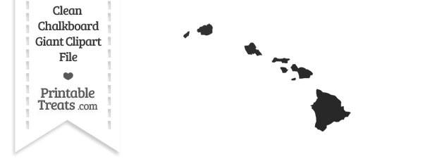 Clean Chalkboard Giant Hawaii State Clipart — Printable Treats.com.