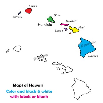 Hawaii State Symbols and Map Clipart.
