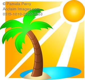 Clip Art Image of a Topical Hawaiian Vacation Icon.