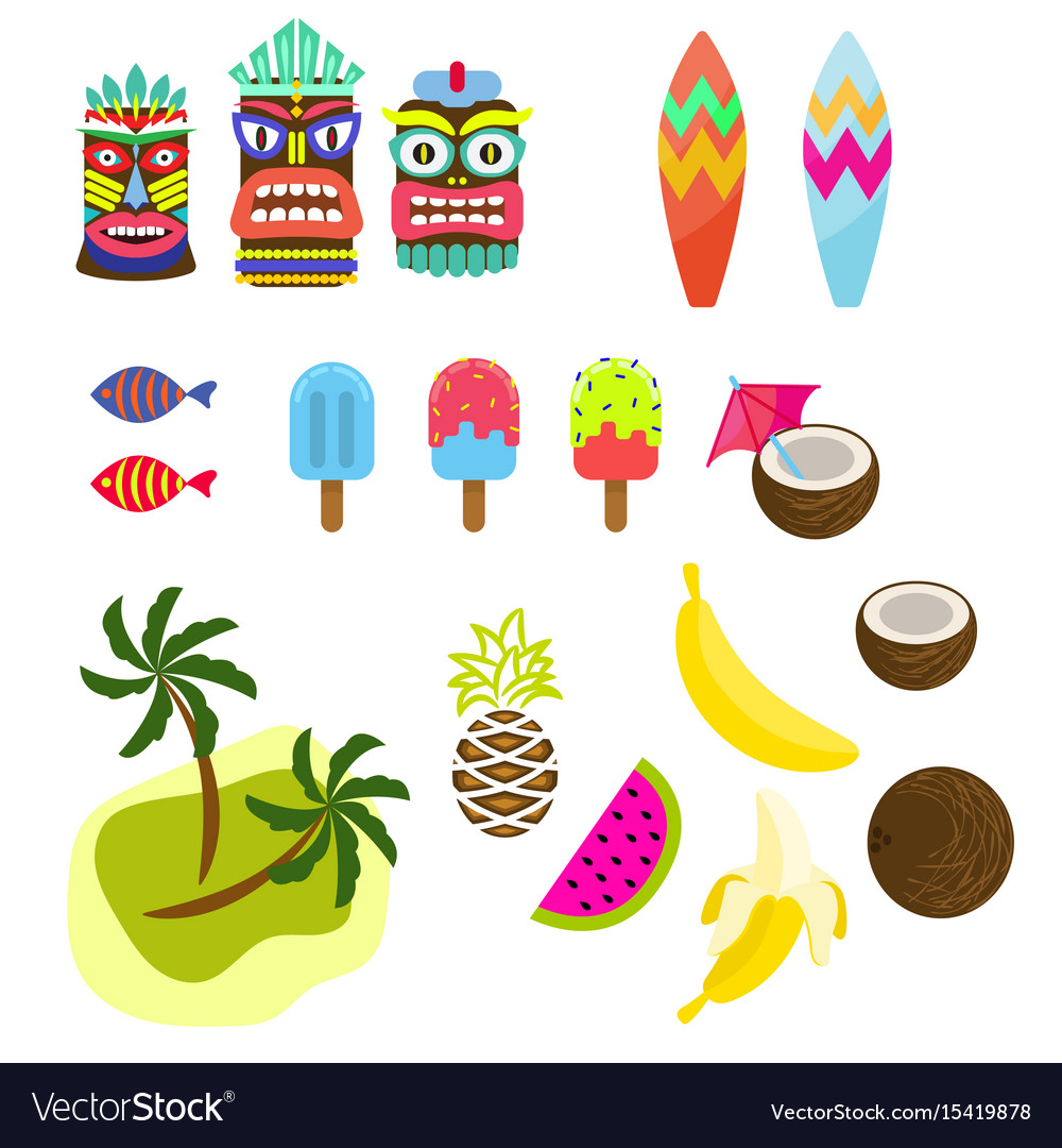 Hawaii tropic colorful clipart.