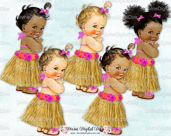 Hawaiian Luau Hula Tropical Hot Pink Orange Grass Skirt.