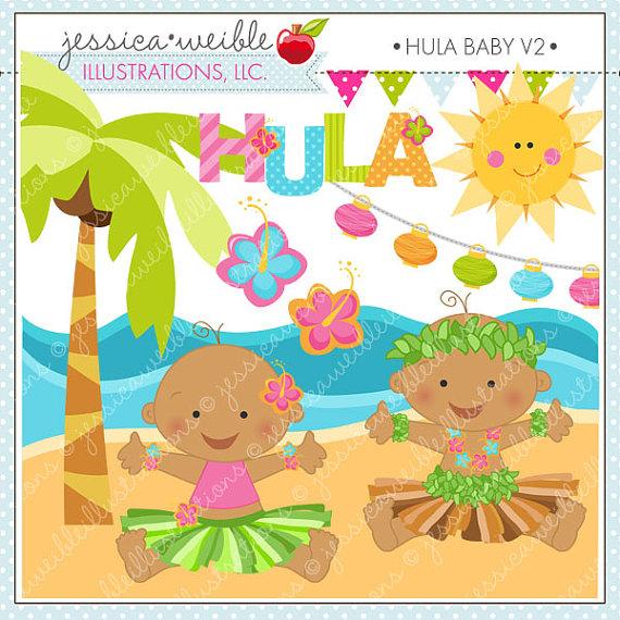 Hawaiian baby clipart.
