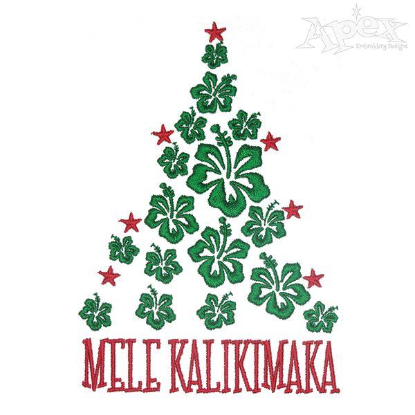 Mele Kalikimaka Christmas Tree Embroidery Designs.