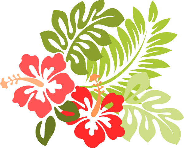 Hawaiian flower border clipart.