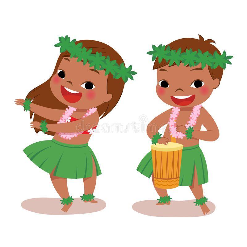 Little hula dancers. Illustration of hawaiian boy playing.