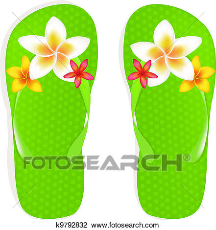 Flip Flops With Flowers Clipart.