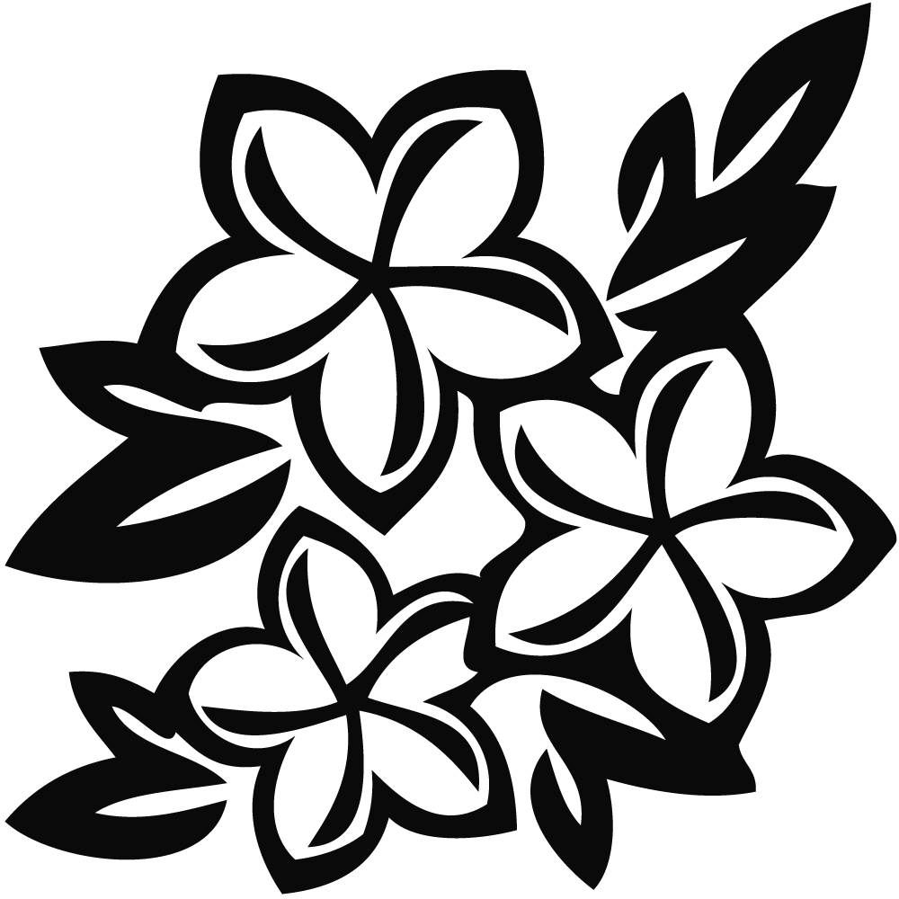 Flowers Clipart Black And White Hawaiian Flowers.