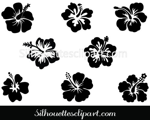 Hibiscus Flower Silhouette Vector Illustration.