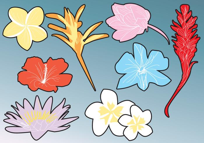 Hawaiian Flower Silhouettes.