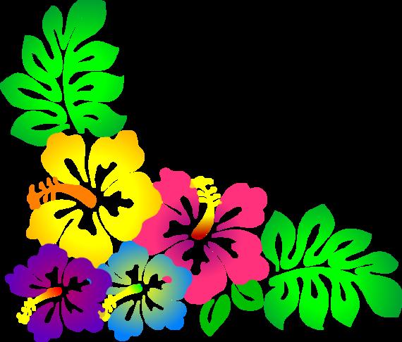 Hawaiian flower border clipart 2.