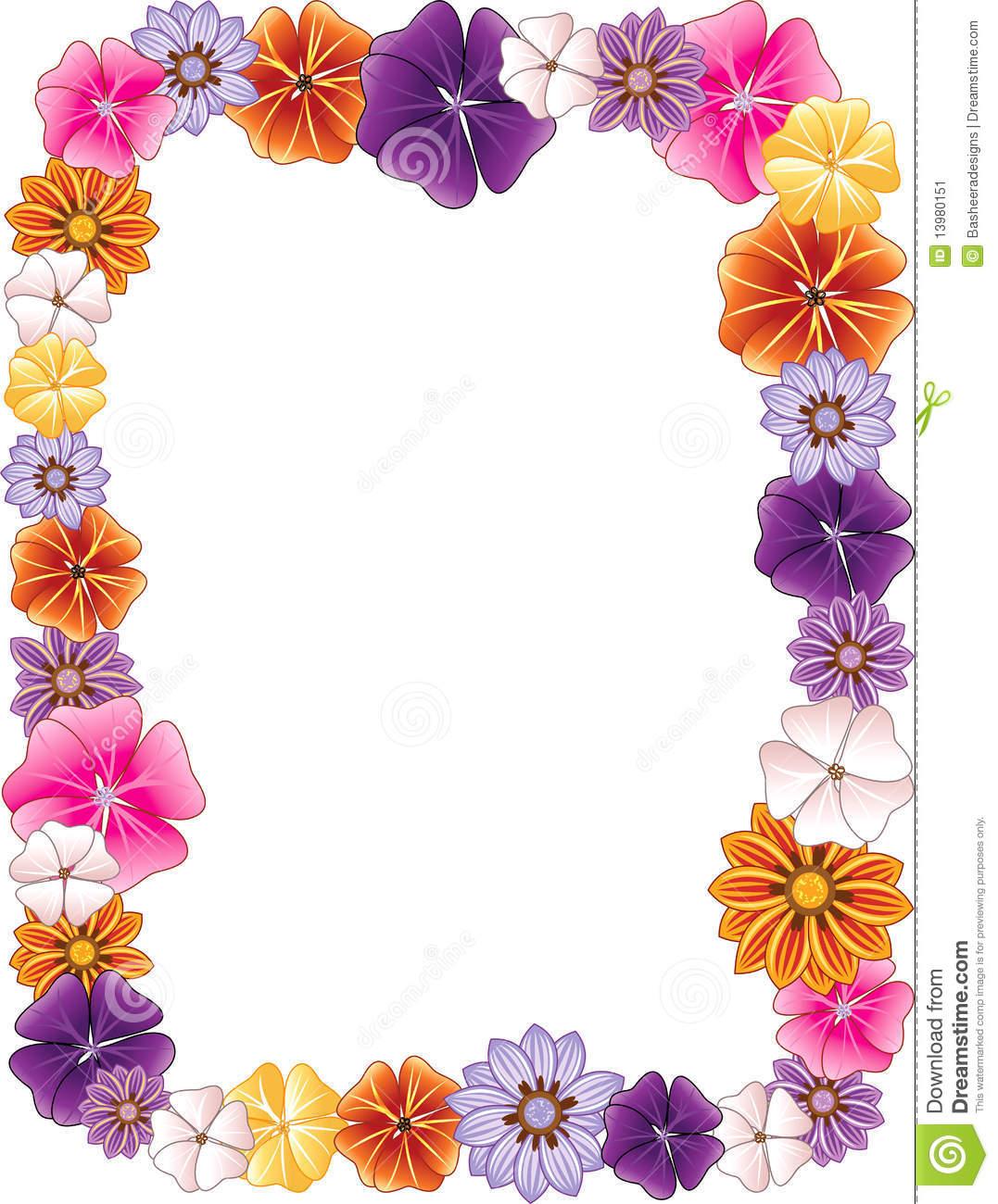 Hawaiian Flower Border Clip Art.