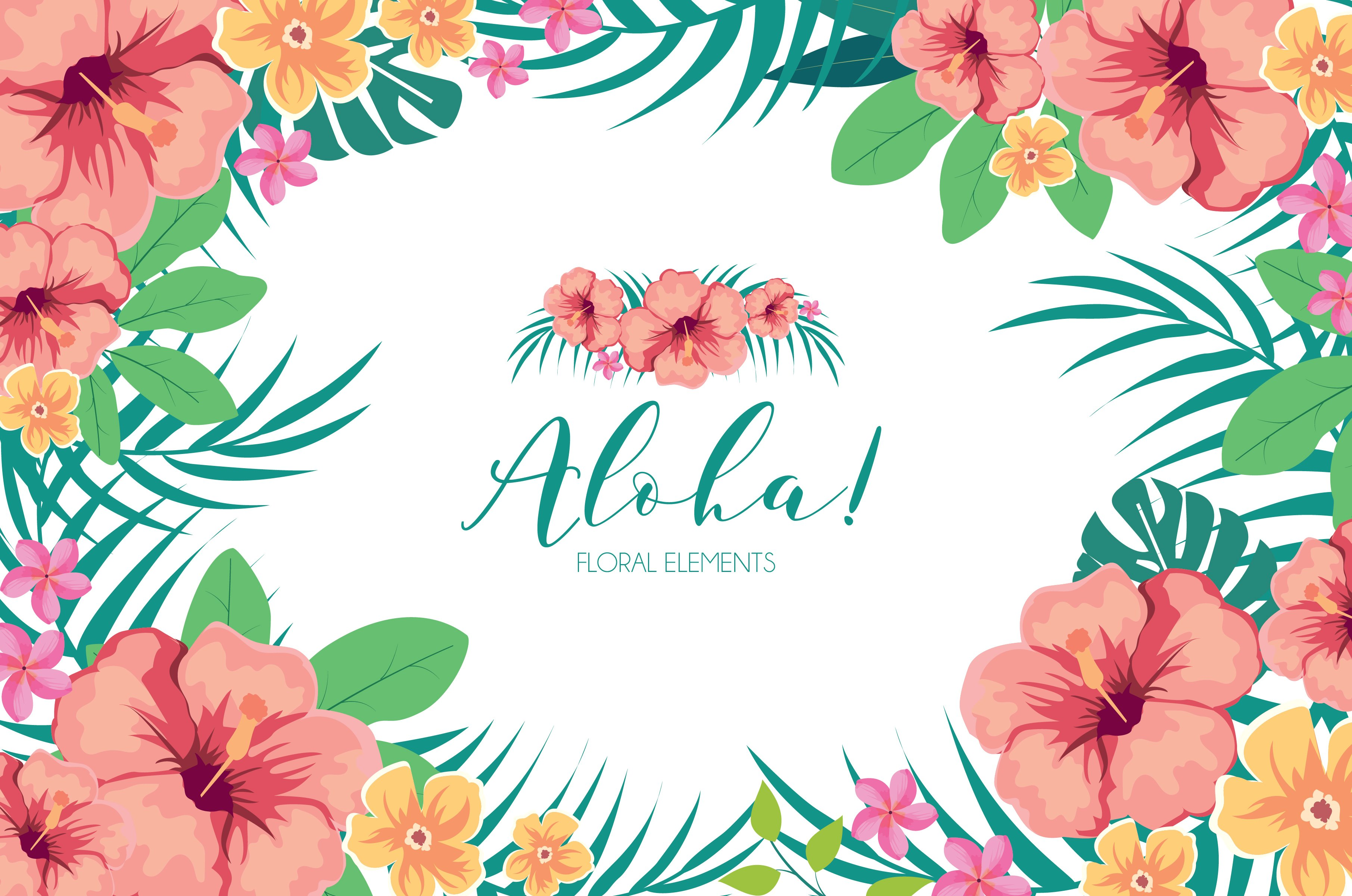 Tropical Hawaiian Flowers Clipart.