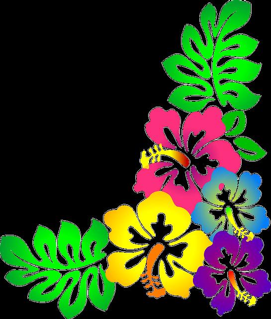 Colorful Hawaiian Flower Clipart.