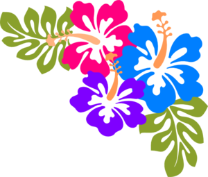 Example of corner design made up of hibiscus flowers and leaf.