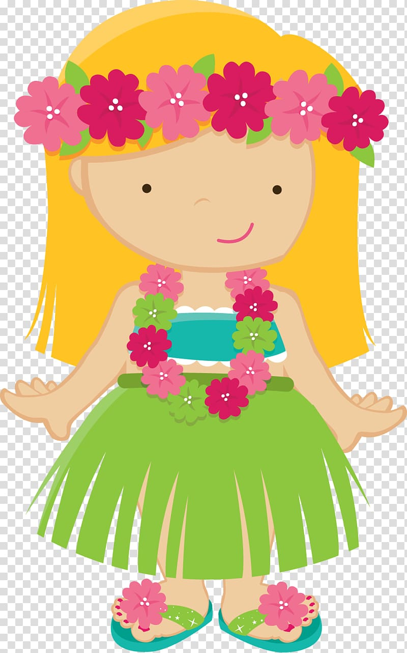 Hawaiian Drawing Luau , baby girl transparent background PNG.