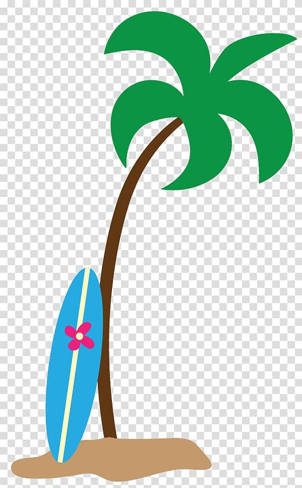 Surf board on palm tree illustration, Hawaii Arecaceae.