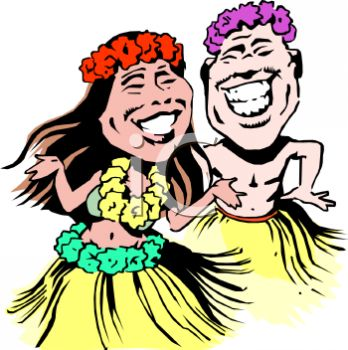 Smiling Hawaiian Hula Dancers.