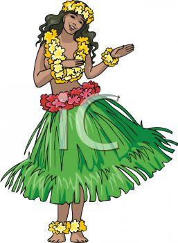 Hawaiian Hula Dancer in a Grass Skirt.