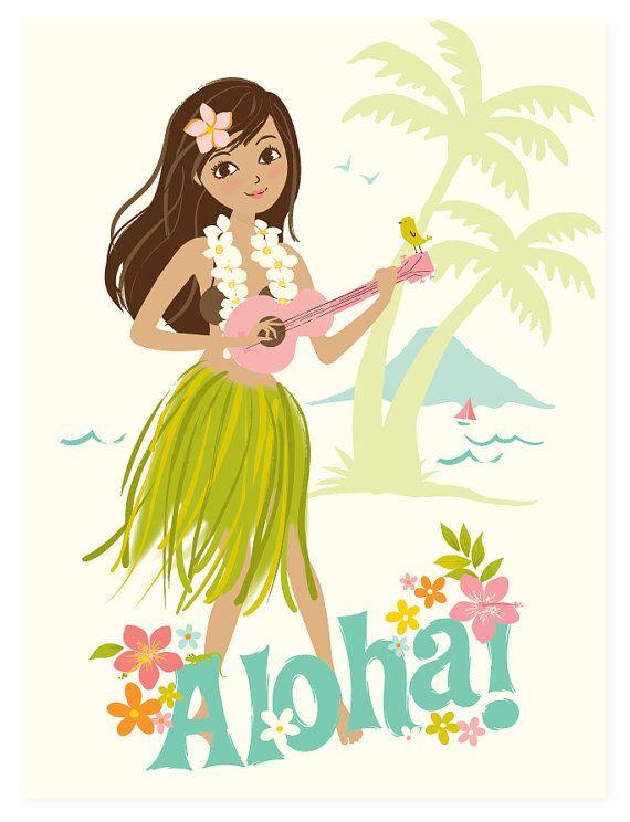 Hawaii wall art, Aloha, Hawaiian, Hula Girl.