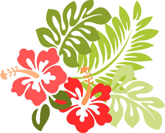Colorful Hawaiian flowers and leaves clipart free image.