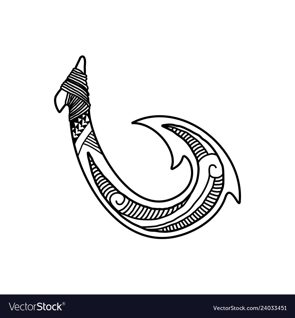 Hand drawn hawaiian fish hook logo design inspirat.