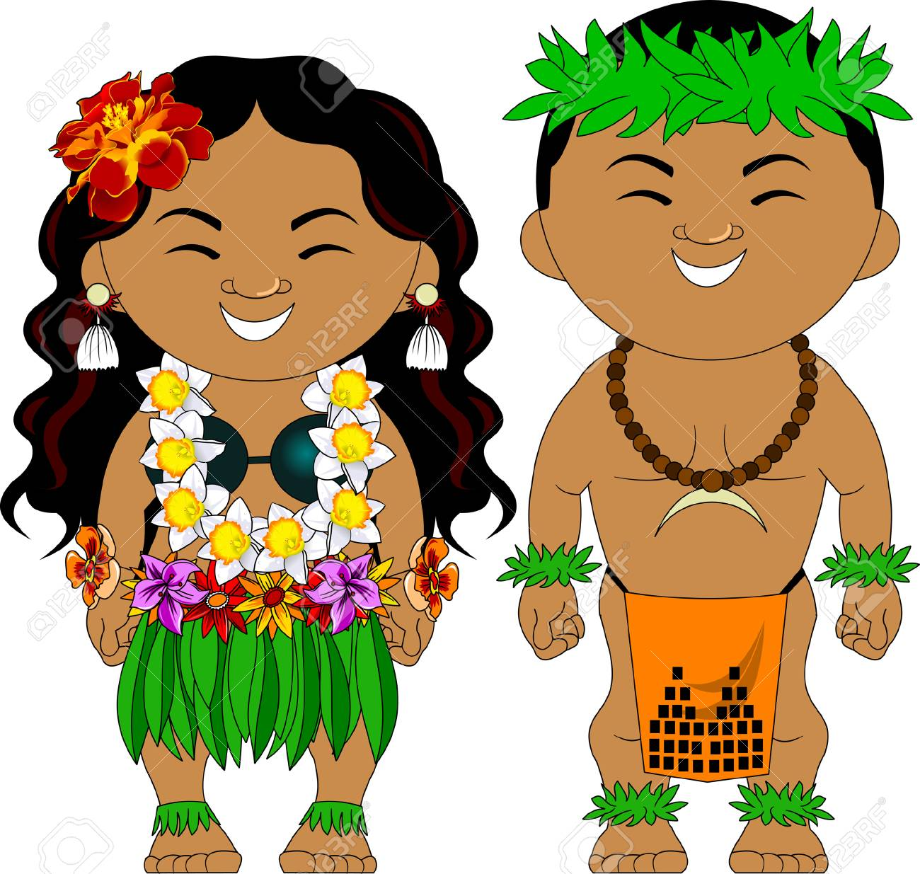 Man and woman in traditional Hawaiian costumes, vector.