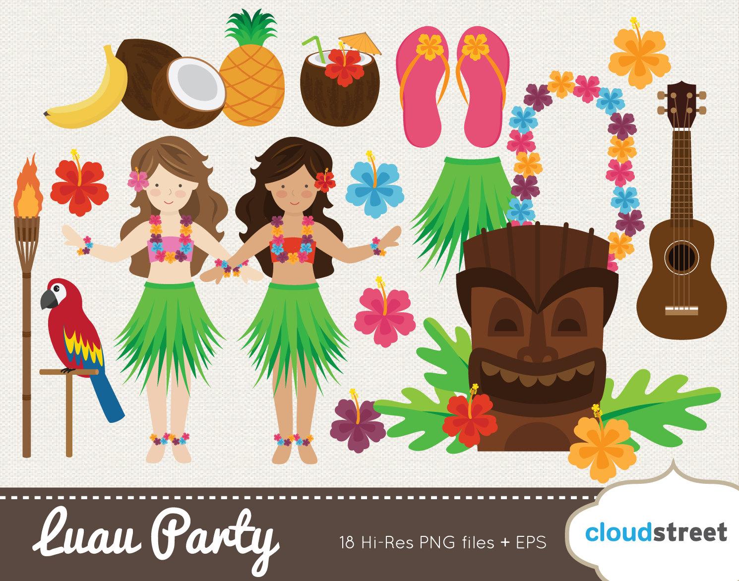 20% OFF Vector Hawaiian Luau Party clip art for / Luau clipart.