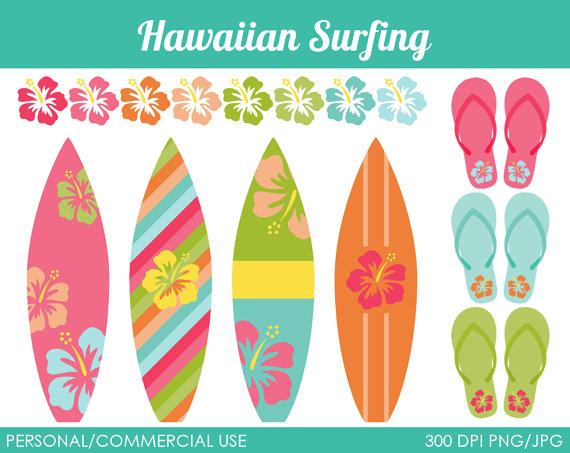 Hawaiian Surfing Clipart.