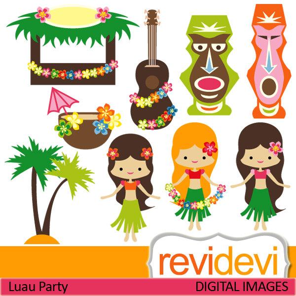 Clipart Luau Party 07419.. Commercial use digital clip arts.