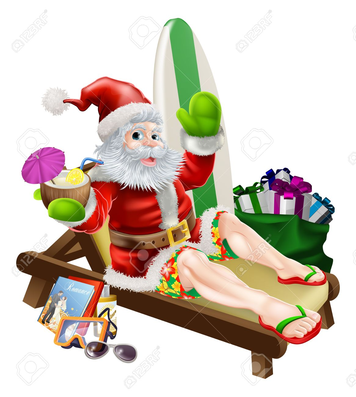 Christmas Santa Claus relaxing on the beach or by the pool wearing...