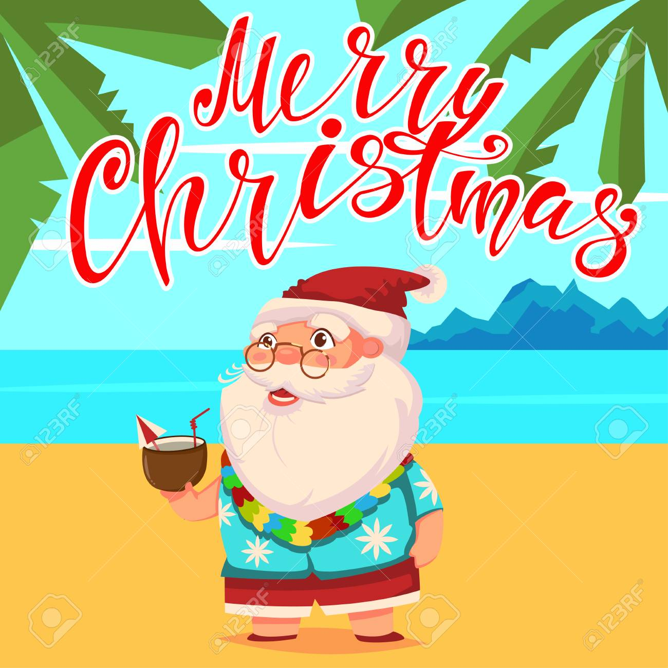 Summer Santa Claus on the beach with palm trees in shorts and...