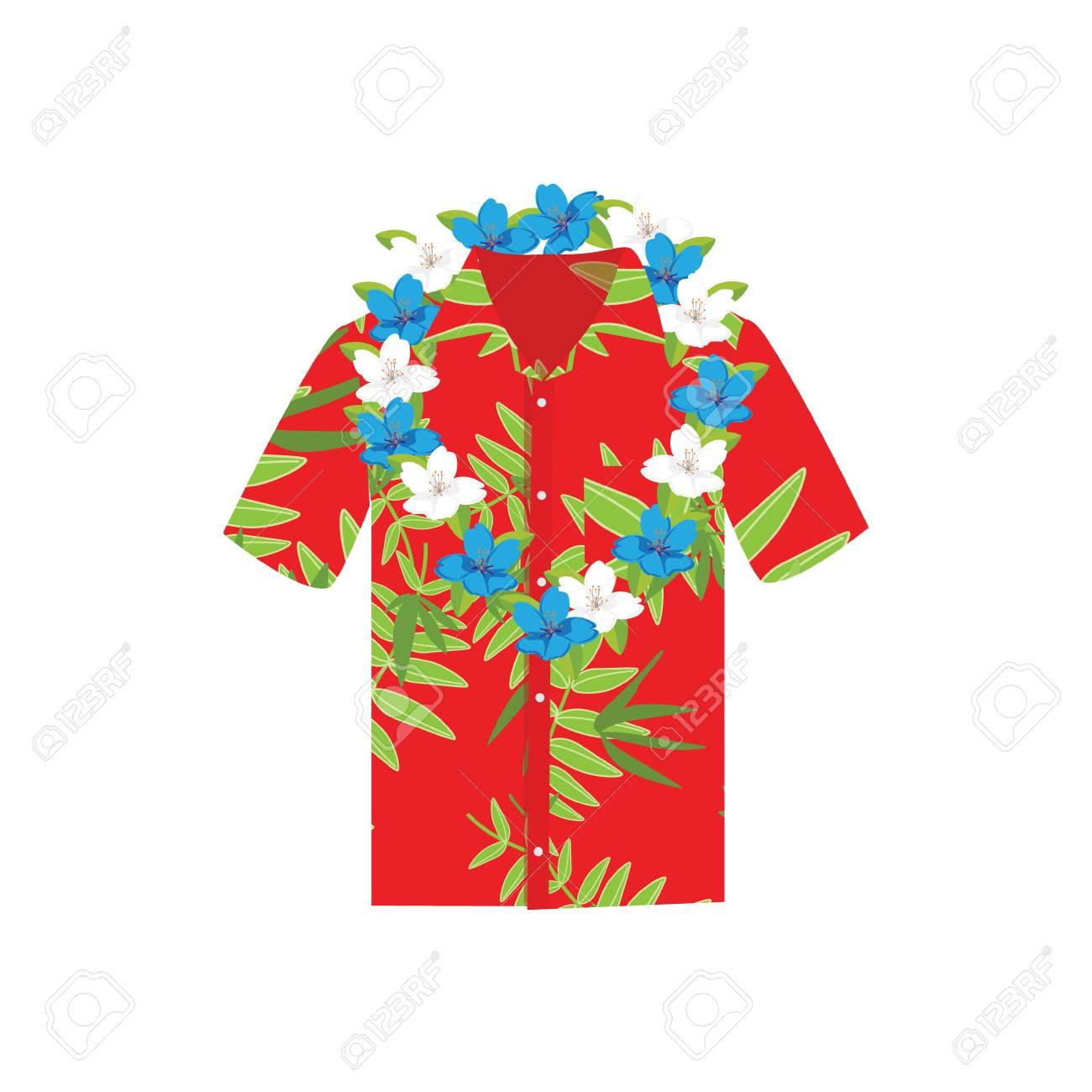 Raster Illustration Hawaiian Aloha Shirt With Flower Wreath,.. Stock.
