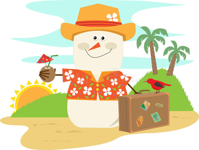 Hawaiian Snowman Stock Illustrations.