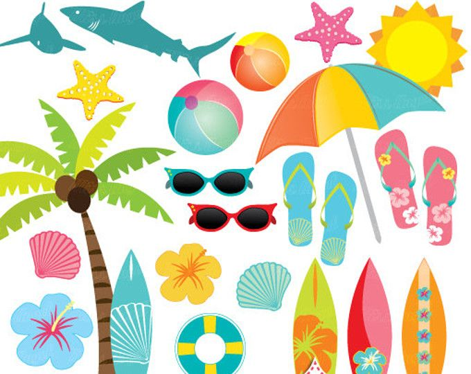 Surfboards Clipart, Summer Surfboards, Palmtree, Toucan.