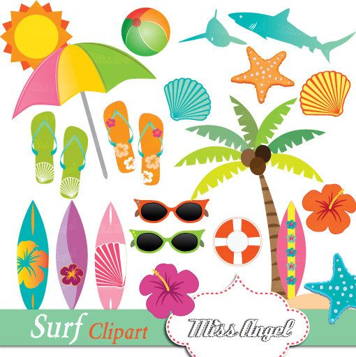 Hawaiian Surf Clipart, Summer Beach Clip Art, Surfboards.