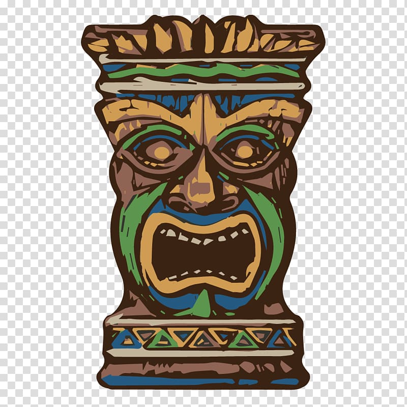 Brown, blue, and green tiki mask illustration, Tiki culture.